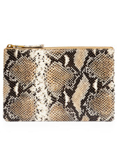 Madewell Snake Embossed Leather Pouch Clutch