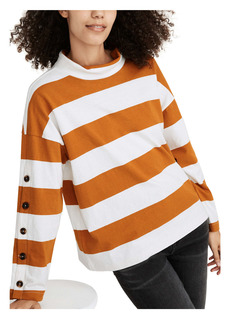 Madewell Striped Button Sleeve Organic Cotton Turtleneck Top