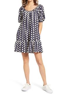 Madewell Textural Dot Shirred Ruffle Hem Minidress
