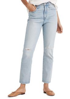 Madewell The Ripped High Waist Crop Slim Boyfriend Jeans (Dumas Wash)
