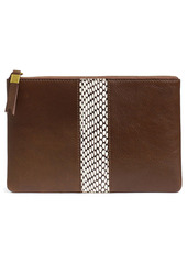 Madewell The Snake Embossed Leather Inset Edition Suede Pouch Clutch