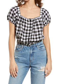 Madewell Puff Sleeve Button Front Crop Top
