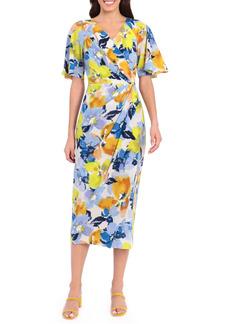 Maggy London Floral Print Faux Wrap Midi Dress