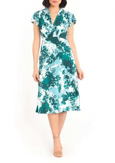 Maggy London Floral Print Flutter Sleeve Midi Dress