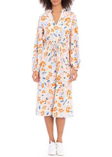 Maggy London Floral Print Long Sleeve Midi Dress