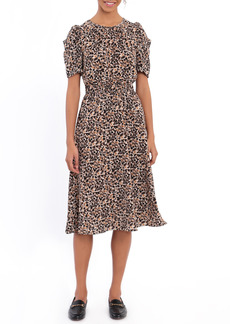 Maggy London Floral Ruched Sleeve A-Line Bubble Crepe Dress