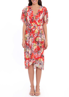 Maggy London Floral Wrap Front Flutter Sleeve Midi Dress