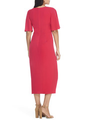 Maggy London Flutter Sleeve Faux Wrap Midi Dress