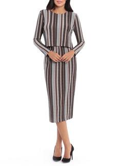Maggy London Textured Stripe Long Sleeve Two-Piece Midi Dress