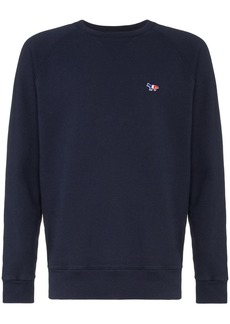 Maison Kitsuné logo embroidered long-sleeved sweatshirt