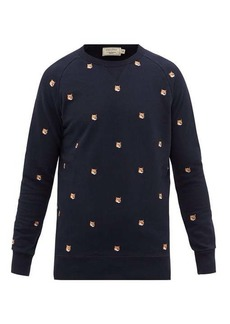 Maison Kitsuné Fox Head-patch cotton-jersey sweatshirt