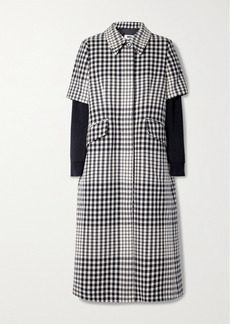 Maison Margiela Layered Ribbed-knit And Checked Wool-blend Coat