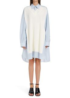 Maison Margiela Oversize Knit Vest Cotton Shirtdress