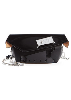 Maison Margiela Small Snatched Calfskin Leather Convertible Clutch - Black