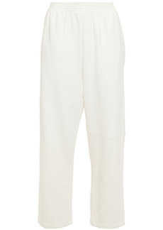 Mm6 Maison Margiela Woman Cropped French Cotton-blend Terry Track Pants Ivory