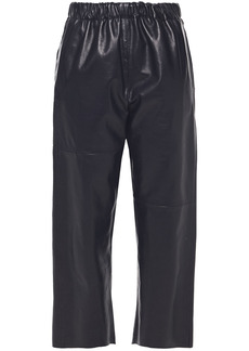 Mm6 Maison Margiela Woman Cropped Gathered Leather Straight-leg Pants Navy