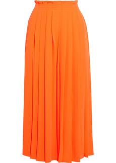 Mm6 Maison Margiela Woman Pleated Neon Crepe De Chine Culottes Bright Orange