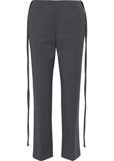 Mm6 Maison Margiela Woman Tie-detailed Cady Slim-leg Pants Charcoal