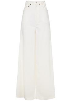 Mm6 Maison Margiela Woman Wool-blend Wide-leg Pants Ecru