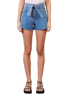 maje Belted Cutoff Denim Shorts