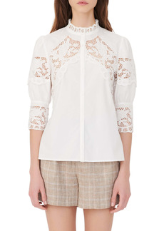 maje Cebella Embroidered Lace Button-Up Shirt
