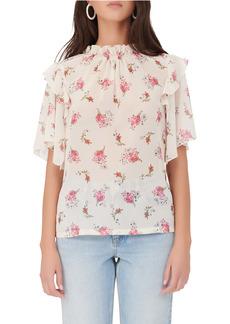 maje Floral Ruffle Sleeve Blouse