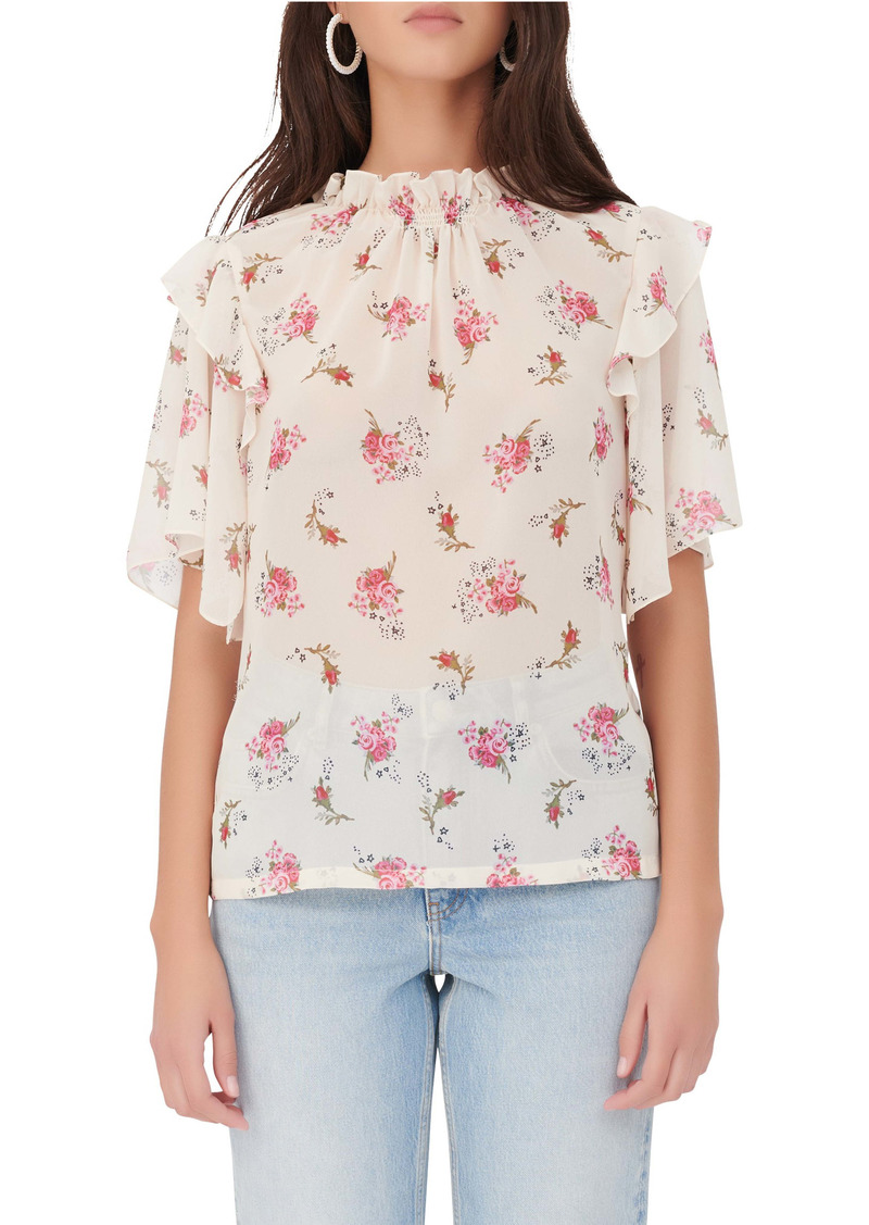 maje Floral Ruffle Sleeve Blouse