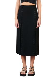 maje Jude Studded Crepe Midi Skirt