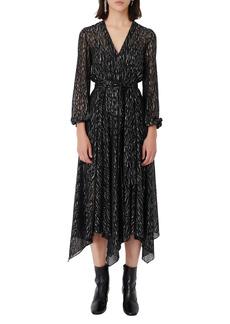 maje Long Sleeve Wrap Dress