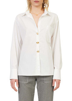maje Tie Waist Cotton Button-Up Shirt