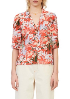 maje Tropical Floral Print Elbow Sleeve Button-Up Blouse