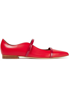 Malone Souliers Woman Maureen Two-tone Leather Point-toe Flats Red
