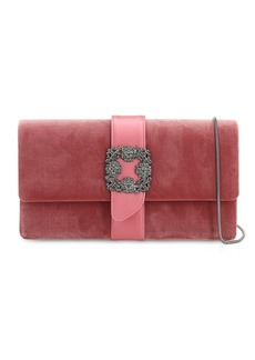 Manolo Blahnik Capri Embellished Velvet & Satin Clutch