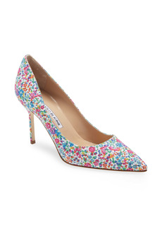 Manolo Blahnik BB Floral Print Pointed Toe Pump (Women)