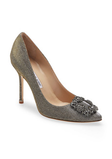 Manolo Blahnik Hangisi Jeweled Pointed Toe Pump (Women)