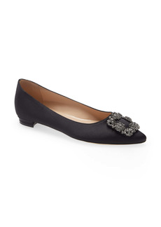 Manolo Blahnik Hangisi Jeweled Pointy Toe Flat (Women)