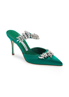 Manolo Blahnik Lurum Crystal Leaf Pointed Toe Mule (Women)