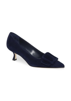 Manolo Blahnik Maysale Buckle Pointed Toe Pump (Women)