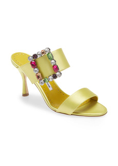 Manolo Blahnik Verda Crystal Buckle Slide Sandal (Women)
