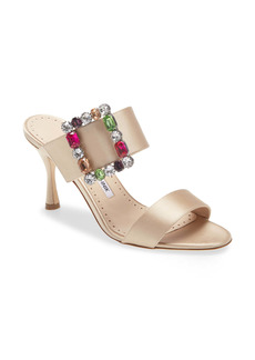 Manolo Blahnik Verda Crystal Buckle Slip-On Sandal (Women)