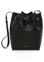 Mansur Gavriel Mini Croc Embossed Leather Bucket Bag