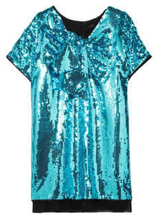 Marc Jacobs Woman Satin-paneled Bow-embellished Sequined Georgette Mini Dress Turquoise