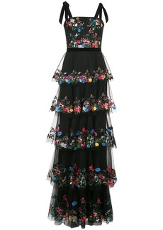Marchesa flower-embroidered evening dress