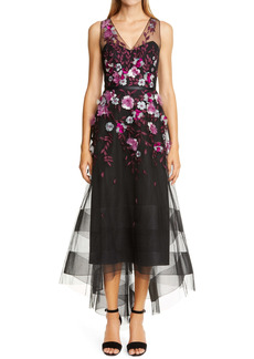 Marchesa Notte Embellished Tulle High/Low Gown