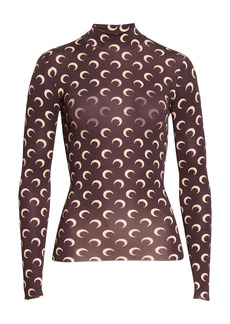 Marine Serre Fitted Moon Print Mock Neck Top