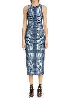 Marine Serre Moon Fish Skin Jacquard Midi Dress
