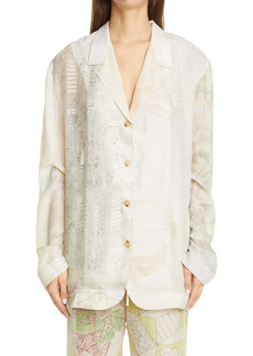 Marine Serre One of a Kind Mixed Print Silk Lounge Shirt