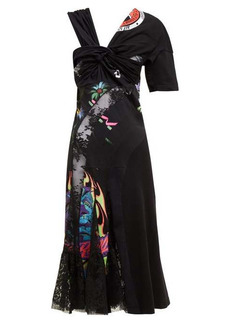 Marine Serre Patchwork floral-lace and cotton jersey midi dress