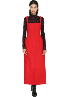 Marine Serre Monogram Jacquard Wool Midi Dress