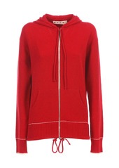 Marni Cashmere Embroidered Logo Zip Up Hoodie